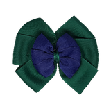 School uniform hair accessories Double Bella Bow 10cm - Dark Green Base & Centre Ribbon Navy Blue - Pinkberry Kisses