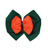 School uniform hair accessories Double Bella Bow 10cm - Dark Green Base & Centre Ribbon Neon Orange - Pinkberry Kisses