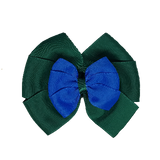 School uniform hair accessories Double Bella Bow 10cm - Dark Green Base & Centre Ribbon Royal Blue - Pinkberry Kisses