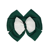 School uniform hair accessories Double Bella Bow 10cm - Dark Green Base & Centre Ribbon White - Pinkberry Kisses