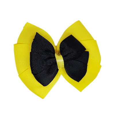 School uniform hair accessories Double Bella Hair Bow 10cm - Lemon Base & Centre Ribbon Black - Pinkberry Kisses