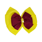 School uniform hair accessories Double Bella Hair Bow 10cm - Lemon Base & Centre Ribbon Burgundy - Pinkberry Kisses