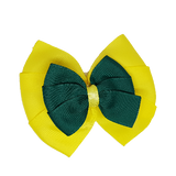 School uniform hair accessories Double Bella Hair Bow 10cm - Lemon Base & Centre Ribbon Dark Green - Pinkberry Kisses