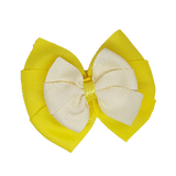 School uniform hair accessories Double Bella Hair Bow 10cm - Lemon Base & Centre Ribbon Ivory - Pinkberry Kisses