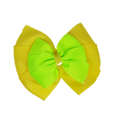 School uniform hair accessories Double Bella Hair Bow 10cm - Lemon Base & Centre Ribbon Key Lime - Pinkberry Kisses