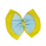 School uniform hair accessories Double Bella Hair Bow 10cm - Lemon Base & Centre Ribbon Light Blue - Pinkberry Kisses