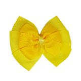 School uniform hair accessories Double Bella Hair Bow 10cm - Lemon Base & Centre Ribbon Maize - Pinkberry Kisses