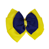 School uniform hair accessories Double Bella Hair Bow 10cm - Lemon Base & Centre Ribbon Navy Blue- Pinkberry Kisses