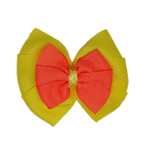 School uniform hair accessories Double Bella Hair Bow 10cm - Lemon Base & Centre Ribbon Neon Orange - Pinkberry Kisses