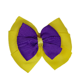 School uniform hair accessories Double Bella Hair Bow 10cm - Lemon Base & Centre Ribbon Purple - Pinkberry Kisses