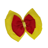 School uniform hair accessories Double Bella Hair Bow 10cm - Lemon Base & Centre Ribbon Red - Pinkberry Kisses