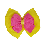 School uniform hair accessories Double Bella Hair Bow 10cm - Lemon Base & Centre Ribbon Shocking Pink  - Pinkberry Kisses