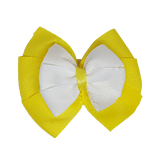 School uniform hair accessories Double Bella Hair Bow 10cm - Lemon Base & Centre Ribbon White - Pinkberry Kisses
