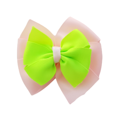 School uniform hair accessories Double Bella Hair Bow 10cm - Light Pink  Base & Centre Ribbon Key Lime - Pinkberry Kisses