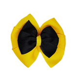 School uniform hair accessories Double Bella Hair Bow 10cm - Maize Base & Centre Ribbon Black- Pinkberry Kisses