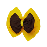 School uniform hair accessories Double Bella Hair Bow 10cm - Maize Base & Centre Ribbon Brown - Pinkberry Kisses