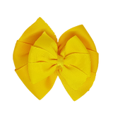 School uniform hair accessories Double Bella Hair Bow 10cm - Maize Base & Centre Ribbon Daffodil Yellow - Pinkberry Kisses