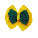 School uniform hair accessories Double Bella Hair Bow 10cm - Maize Base & Centre Ribbon Dark Green - Pinkberry Kisses
