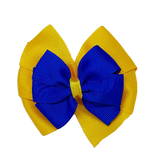 School uniform hair accessories Double Bella Hair Bow 10cm - Maize Base & Centre Ribbon Electric Blue - Pinkberry Kisses
