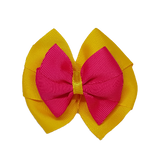 School uniform hair accessories Double Bella Hair Bow 10cm - Maize Base & Centre Ribbon Hot Pink - Pinkberry Kisses