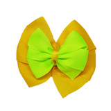 School uniform hair accessories Double Bella Hair Bow 10cm - Maize Base & Centre Ribbon Key Lime - Pinkberry Kisses