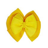 School uniform hair accessories Double Bella Hair Bow 10cm - Maize Base & Centre Ribbon Lemon - Pinkberry Kisses