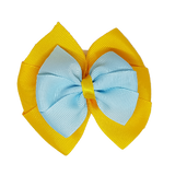 School uniform hair accessories Double Bella Hair Bow 10cm - Maize Base & Centre Ribbon Light Blue - Pinkberry Kisses