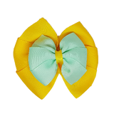 School uniform hair accessories Double Bella Hair Bow 10cm - Maize Base & Centre Ribbon Mint Green - Pinkberry Kisses
