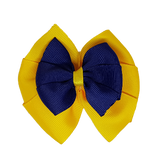 School uniform hair accessories Double Bella Hair Bow 10cm - Maize Base & Centre Ribbon Navy Blue - Pinkberry Kisses