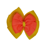 School uniform hair accessories Double Bella Hair Bow 10cm - Maize Base & Centre Ribbon Neon Orange - Pinkberry Kisses