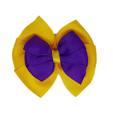 School uniform hair accessories Double Bella Hair Bow 10cm - Maize Base & Centre Ribbon Purple - Pinkberry Kisses