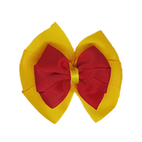 School uniform hair accessories Double Bella Hair Bow 10cm - Maize Base & Centre Ribbon Red - Pinkberry Kisses