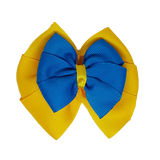 School uniform hair accessories Double Bella Hair Bow 10cm - Maize Base & Centre Ribbon Royal Blue - Pinkberry Kisses