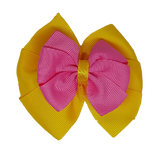 School uniform hair accessories Double Bella Hair Bow 10cm - Maize Base & Centre Ribbon Shocking Pink - Pinkberry Kisses