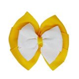 School uniform hair accessories Double Bella Hair Bow 10cm - Maize Base & Centre Ribbon White - Pinkberry Kisses