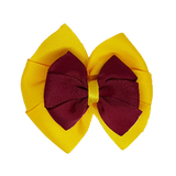 School uniform hair accessories Double Bella Hair Bow 10cm - Maize Base & Centre Ribbon Burgundy - Pinkberry Kisses