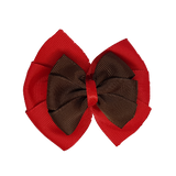 School uniform hair accessories Double Bella Bow 10cm - Red Base & Centre Ribbon Brown - Pinkberry Kisses