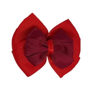 School uniform hair accessories Double Bella Bow 10cm - Red Base & Centre Ribbon Black- Pinkberry Kisses