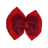 School uniform hair accessories Double Bella Bow 10cm - Red Base & Centre Ribbon Burgundy- Pinkberry Kisses