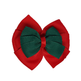 School uniform hair accessories Double Bella Bow 10cm - Red Base & Centre Ribbon Dark Green - Pinkberry Kisses