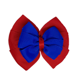 School uniform hair accessories Double Bella Bow 10cm - Red Base & Centre Ribbon Electric Blue - Pinkberry Kisses