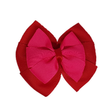 School uniform hair accessories Double Bella Bow 10cm - Red Base & Centre Ribbon Hot Pink - Pinkberry Kisses
