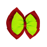 School uniform hair accessories Double Bella Bow 10cm - Red Base & Centre Ribbon Key Lime - Pinkberry Kisses