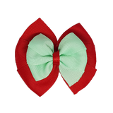 School uniform hair accessories Double Bella Bow 10cm - Red Base & Centre Ribbon Light Green - Pinkberry Kisses