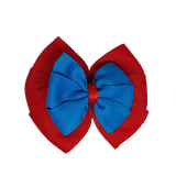 School uniform hair accessories Double Bella Bow 10cm - Red Base & Centre Ribbon Methyl Blue - Pinkberry Kisses