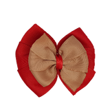 School uniform hair accessories Double Bella Bow 10cm - Red Base & Centre Ribbon Natural - Pinkberry Kisses