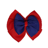 School uniform hair accessories Double Bella Bow 10cm - Red Base & Centre Ribbon navy Blue - Pinkberry Kisses