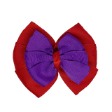 School uniform hair accessories Double Bella Bow 10cm - Red Base & Centre Ribbon Purple - Pinkberry Kisses