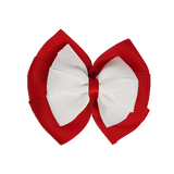 School uniform hair accessories Double Bella Bow 10cm - Red Base & Centre Ribbon White - Pinkberry Kisses