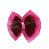 School uniform hair accessories Double Bella Hair Bow 10cm - Shocking Pink Base & Centre Ribbon Brown - Pinkberry Kisses